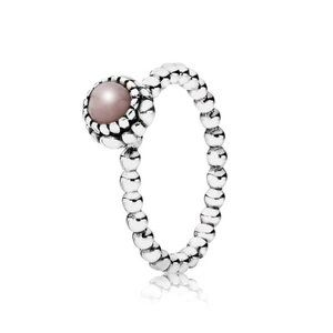 🐶Pandora Silver Ring Birthstone October Pink Opal